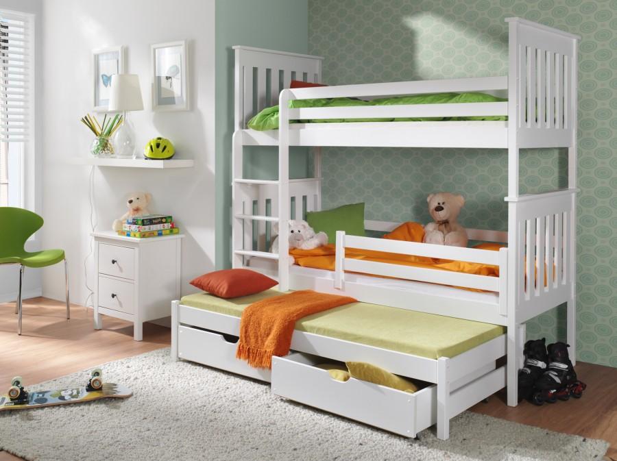 łóżko Piętrowe Trzyosobowe Reksio Z Szufladą